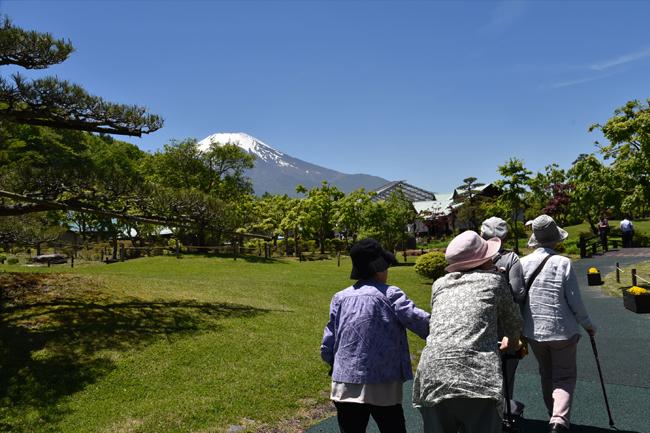 写真:真っ青な空のもと散策をするお客様