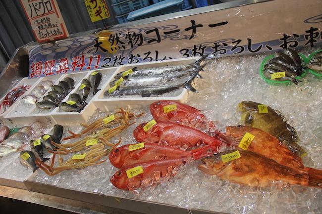 写真:敷き詰められた氷の上に並ぶ新鮮な魚