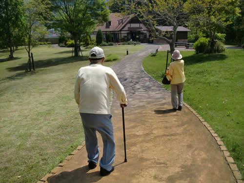 写真:夫婦で公園をのんびりと散歩