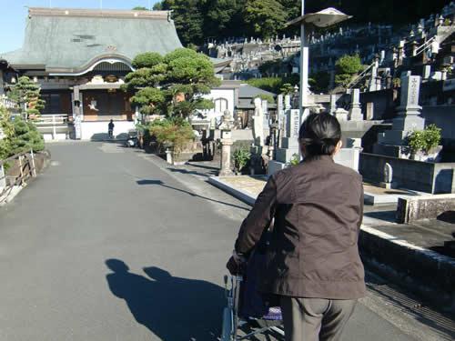 写真:ヘルパーに車いすを押してもらい、お寺を移動する